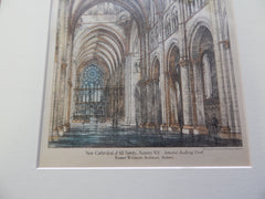 Interior, Cathedral of All Saints, Albany, NY 1883. Original Plan Hand-colored. Robert W. Gibson.