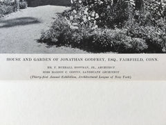 Jonathan Godfrey House & Garden, Fairfield, CT, 1916, Lithograph. F. B. Hoffman