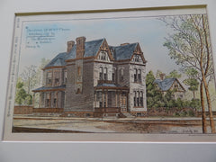 House of William Flaccus, Allegheny City, PA 1883. Original Plan. Charles Bartberger.