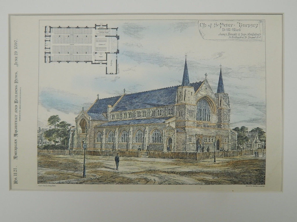 NW View, Church of St. Peter, Hornsey, London, England, 1897, Original Plan. James Brooks & Son.