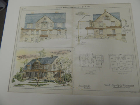 Country House for Fletcher Hines, Indianapolis, IN 1894. Original Plan. Herbert. W. Foltz.