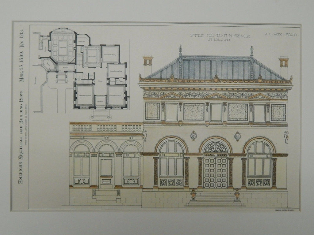 Office for Dr. H. N. Spencer, St. Louis, MO, 1899, Original Plan.  J.L. Wees.