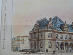 U. S. Courthouse and P.O., Peoria, IL 1883. Original Plan. James G. Hill.