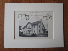 Mrs. Zahnheiser House, Lakewood, Ohio, 1911, Lithograph. Bohnard & Parsons