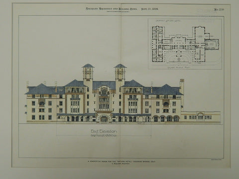 Antlers Hotel Competitive Design, Colorado Springs, CO, 1899, Original Plan. T. McLaren.