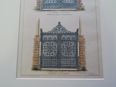Wrought Iron Gates, Military National Cemetery, Arlington, VA 1883 Original Plan. Smithmeyer & Petz.