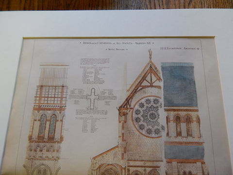 Cathedral of All Saints Design, Albany, NY, 1883. Original Plan. Hand-colored. H.H. Richardson.