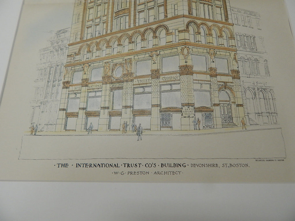 International Trust Co. Building, Boston, MA 1893. Original Plan. Hand-colored. W.G. Preston.