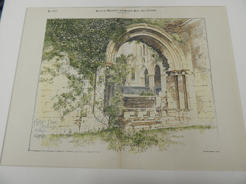 Cloister Door, Dryburgh Abbey, Roxburghshire, Scotland 1892. Original Rendition