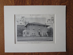 Walter Hines, Esq. House, Short Hills, NJ, 1911, Lithograph. James Ware & Sons