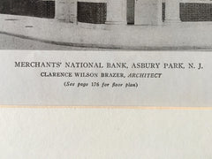 Merchants' National Bank, Asbury Park, NJ, 1919, Lithograph.  C.W. Brazer