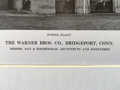 Warner Bros. Co., Bridgeport, CT, 1916, Lithograph. Day & Zimmerman