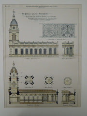 St. Phillip's Church, Birmingham, England, 1887, Original Plan. Thos. Archer.