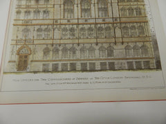 Offices, Commissioners of Sewers, London, UK 1895. Original Plan. Hand-colored. Haywood & Ross.