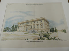 Public Library, Fall River, MA 1895. Original Plan. Hand-colored.  Cram & Wentworth.