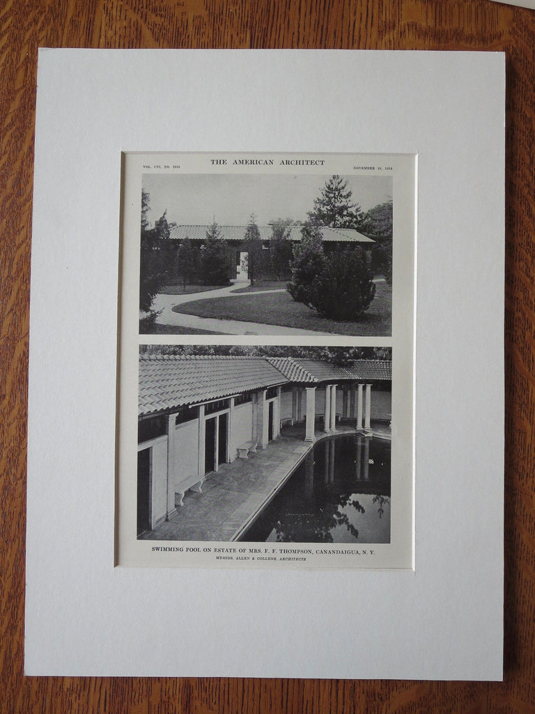 Views, Pool, F. F. Thompson Estate, Canadaigua, NY, 1914, Litho. Allen & Collens