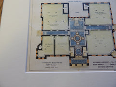Design, City Hall, Jersey City, NJ 1893. Original Plan. Hand Colored. Detwiller, Melendy, and Roberts.
