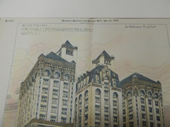 Equitable Assurance Building, Seattle, WA 1891. Original Plan. Hand-colored. John Parkinson.