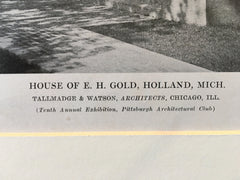 E.H. Gold House, Holland, MI, 1916, Lithograph.  Tallmadge & Watson
