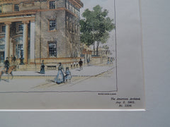 U. S. Post Office, Creston, IA 1901, Original Plan. Hand-colored. James Knox Taylor.
