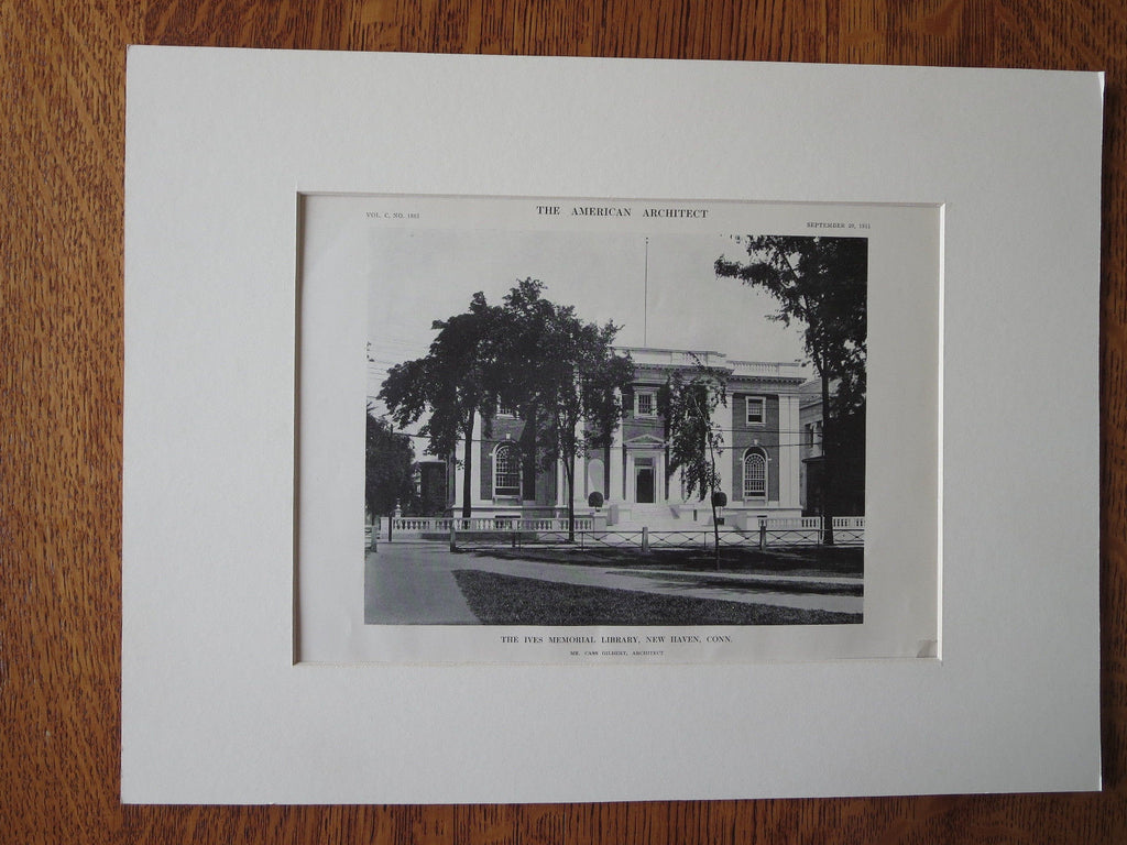 Ives Memorial Library, New Haven, CT, 1911, Lithograph. Cass Gilbert