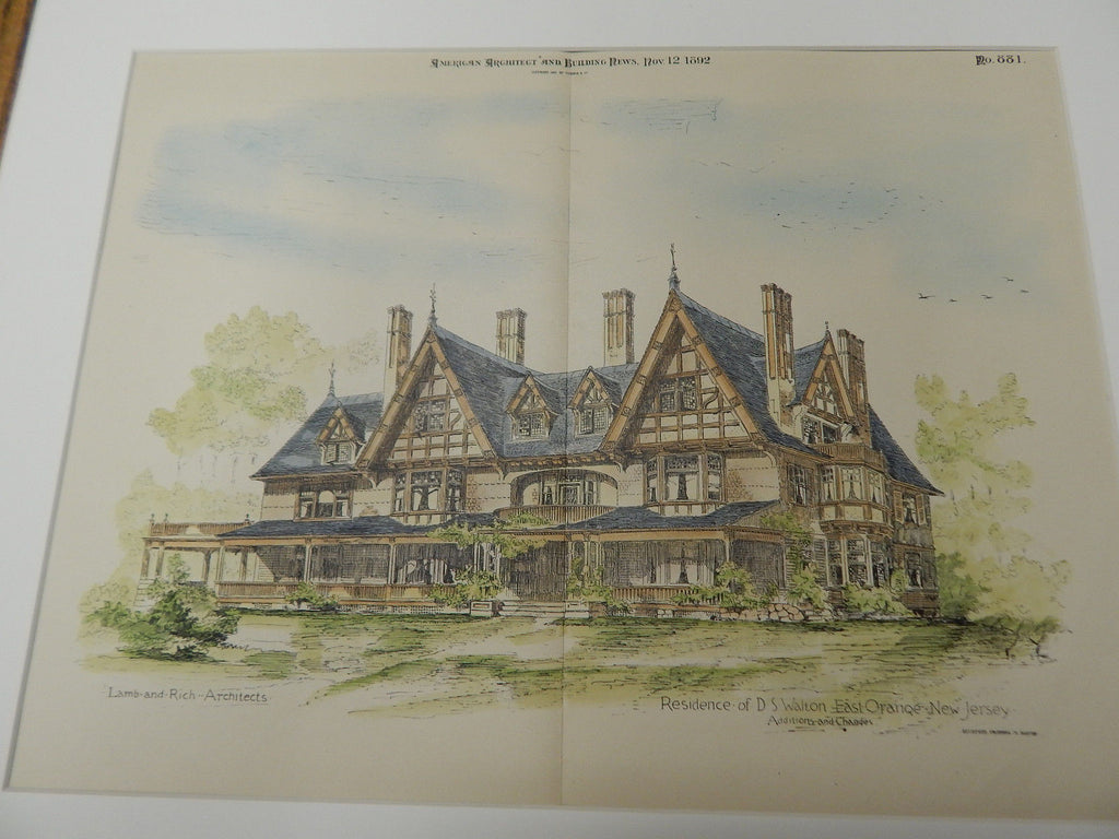 D. S. Walton Residence, East Orange, NJ 1892. Original Plan. Hand-colored. Lamb & Rich.