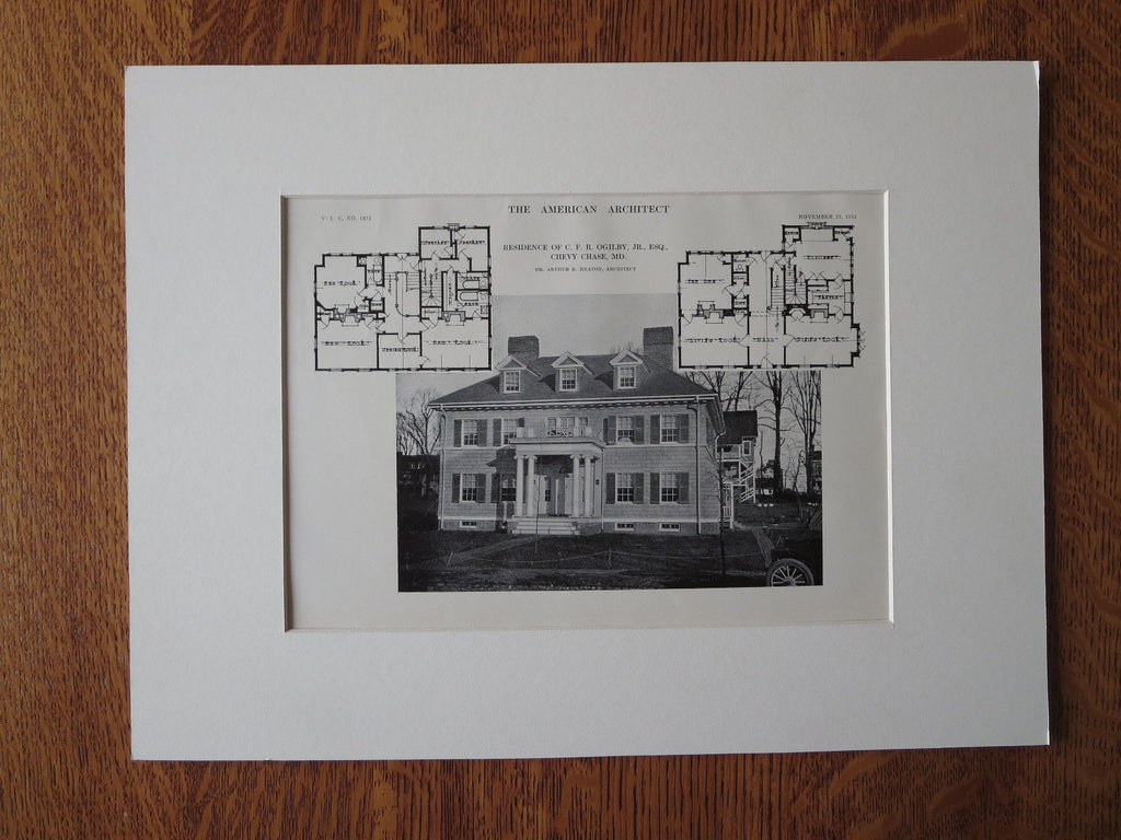 C.F.R. Ogilby, Jr. House, Chevy Chase, MD, 1911, Lithograph. Arthur Heaton