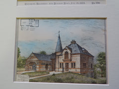 Stable for A. T. Alberton, Lowell, MA 1883. Original Plan. Hand-colored. Merrill & Cutler.