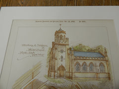 Private Chapel, Pyrgo Park, Havering, London, 1895. Original Plan. Hand-colored. Percy Roberts.