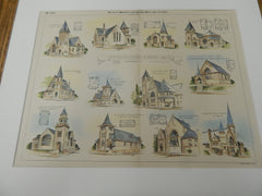 Churches by Crapsey and Brown, Architects 1892. Original Plan. Hand-colored.