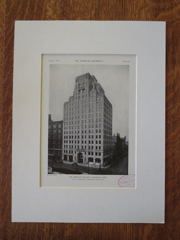 American Building, Cincinnati, OH, 1929, Lithograph. J.G. Steinkamp & Brother