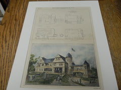 Ridge Club House, Bay Ridge, L.I., NY 1893. Original Plan. Hand-colored. Parfitt Brothers.