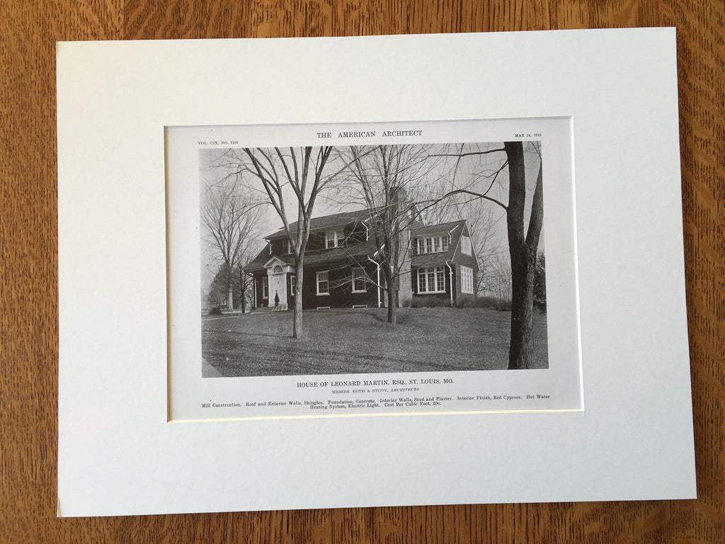 House of Leonard Martin, Esq., St. Louis, MO, 1916, Lithograph. Roth & Study