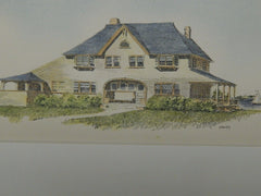 House for Andrew G. Weeks, Marion, MA, 1895, Original Plan. Hand-colored. Chapman & Frazer.
