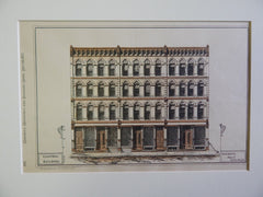 Campbell Building, Chicago, IL, 1877, Original Plan. Hand Colored. W.H. Drake.