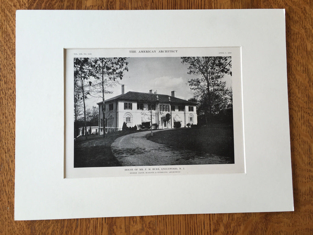 F.M. Burr House, Englewood, NJ, 1916, Lithograph.  Davis, McGrath & Kiessling