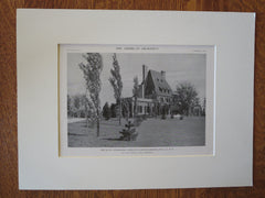 Charles A. Gould House, Greenlawn, NY, 1916, Lithograph. John Russell Pope