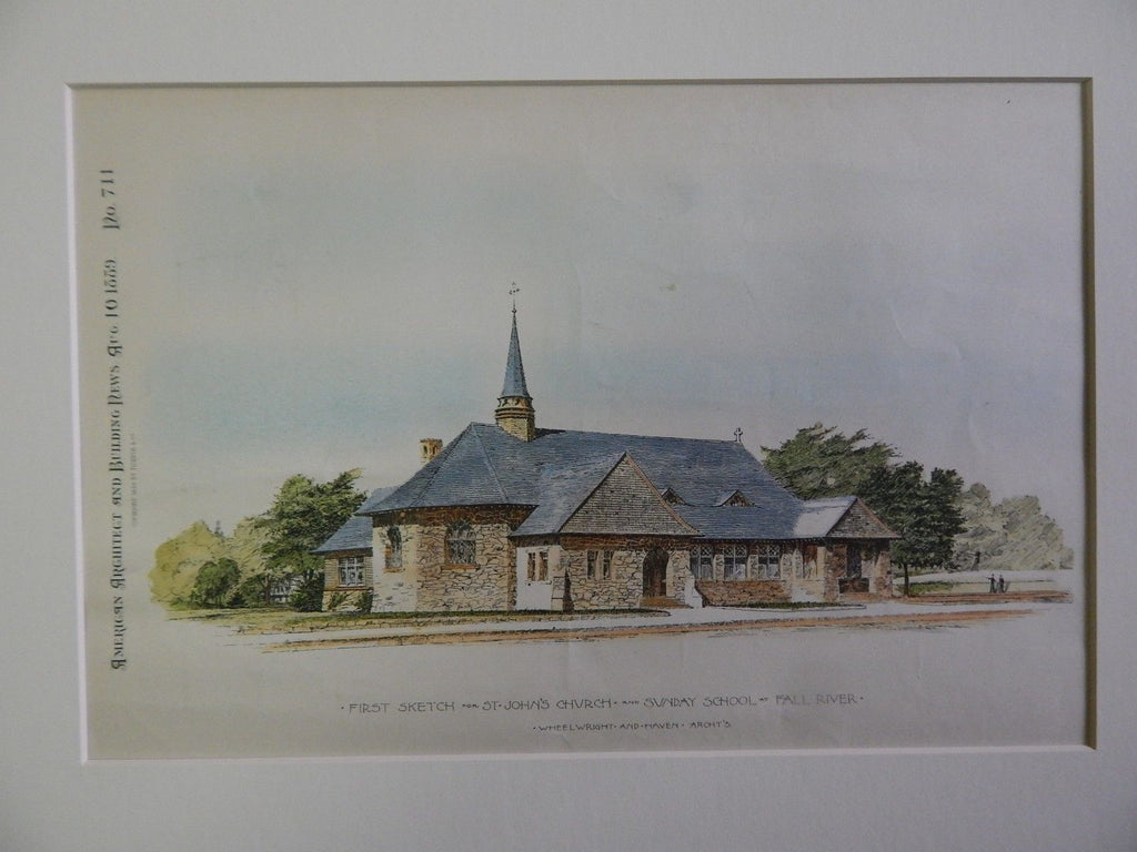 St. John's Church and Sunday School, Fall River, MA, 1889, Original Plan. Wheelwright & Haven.