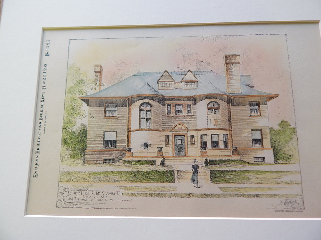 Residence for R. Mc. K. Jones, St. Louis, MO 1892. Original Plan. Eames & Young.
