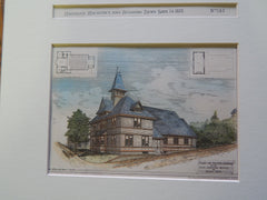 Chapel, First Unitarian Society, Malden, MA 1883. Original Plan. Hand-colored. Horace Burr.