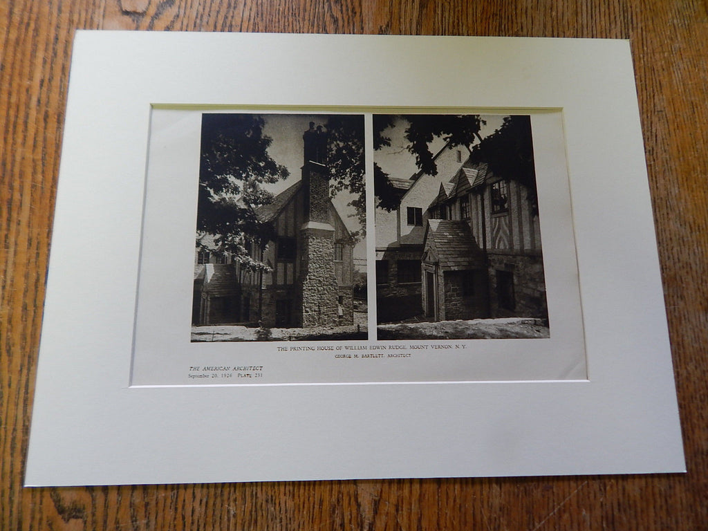 Printing House of William Edwin Rudge #1, Mount Vernon, NY, 1926. Lithograph. George Bartlett.