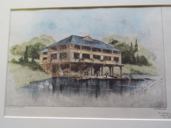 Boat House, Wade Park, Cleveland, OH 1902, Original Plan. Hand-colored. C.F. Scheinfurth
