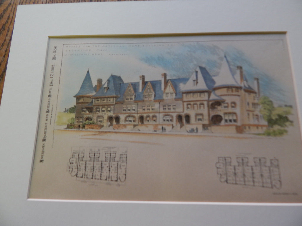 Houses, National Home Building, Brookline MA 1892. Original Plan. Hand Colored. J. Parkinson.