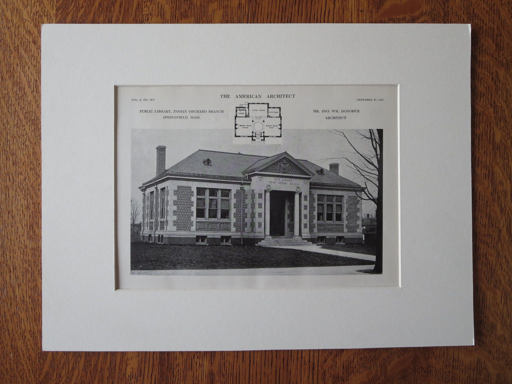 Public Library Indian Orchard Branch, Springfield, MA, 1911, Lithograph. Donohue