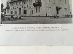 State Hospital, Agnew, CA,1919, Lithograph. George McDougall.