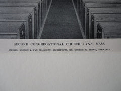 Interior, Second Congregational Church, Lynn, MA , 1911, Lithograph. Nelson