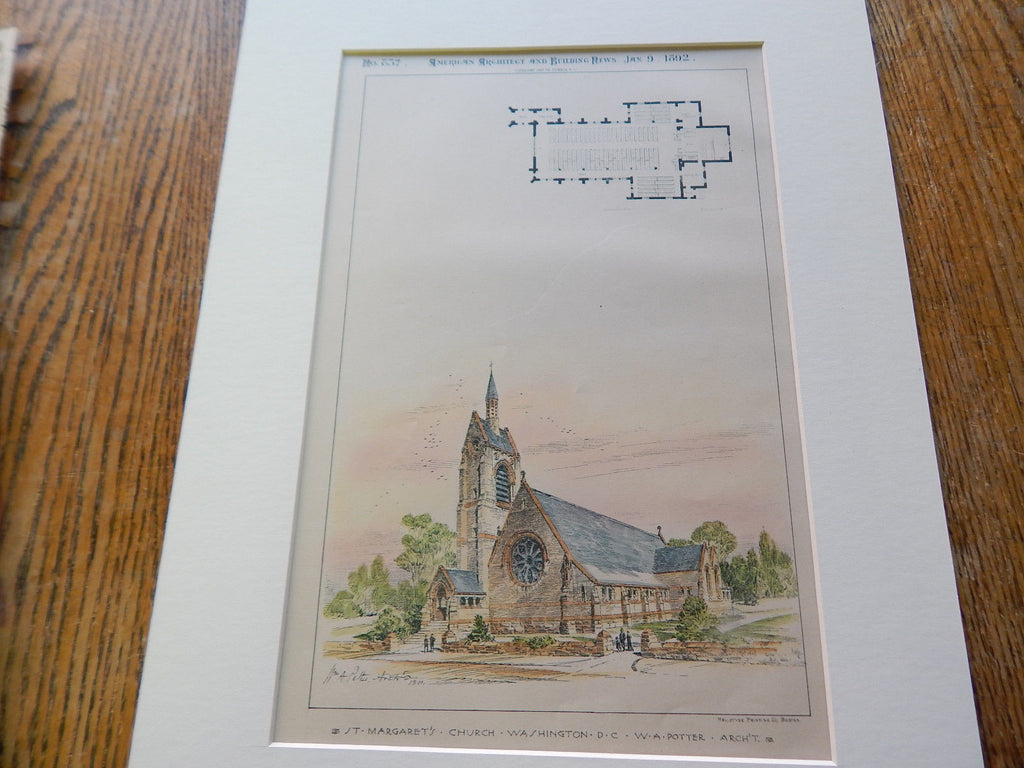 St. Margaret's Church, Washington, DC 1892. Original Plan. W.A. Potter.