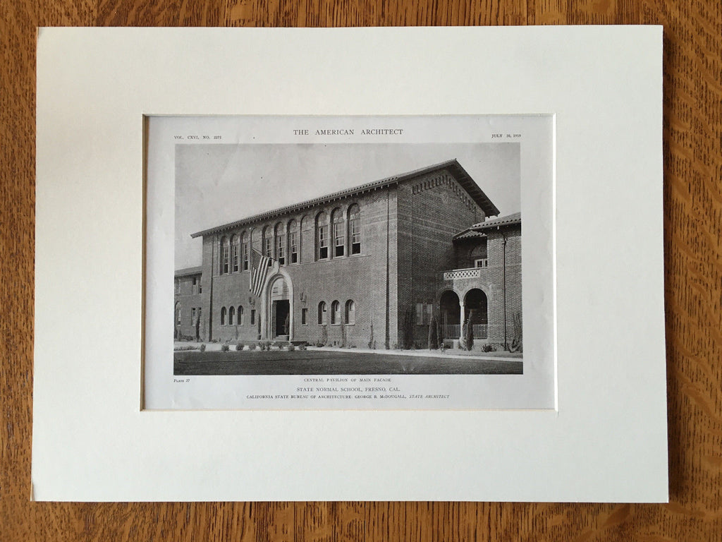 State Normal School, Fresno, CA, 1919, Lithograph. G. McDougall