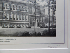 High School Building, Connersville, IL, 1904, Lithograph. Patton & Miller.