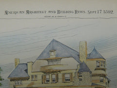 Residence for L. B. Tebbetts, St. Louis, MO, 1892, Original Plan. Theo. C. Link.